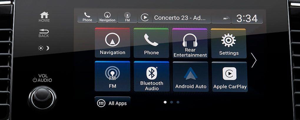 the honda display audio system touchscreen found inside the 2021 honda pilot